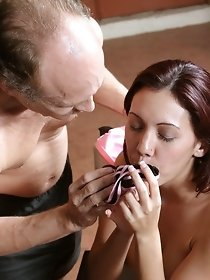 Old and young perverts sniffing wet panties
